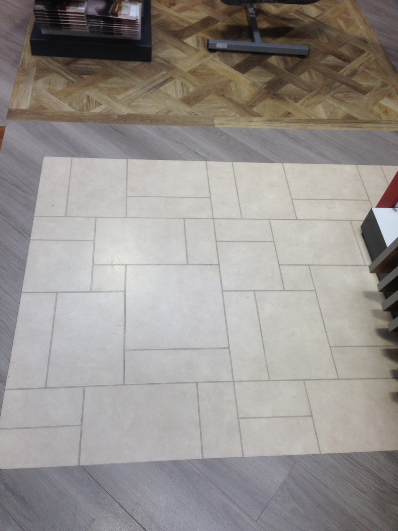 Grey and cream patterned flooring