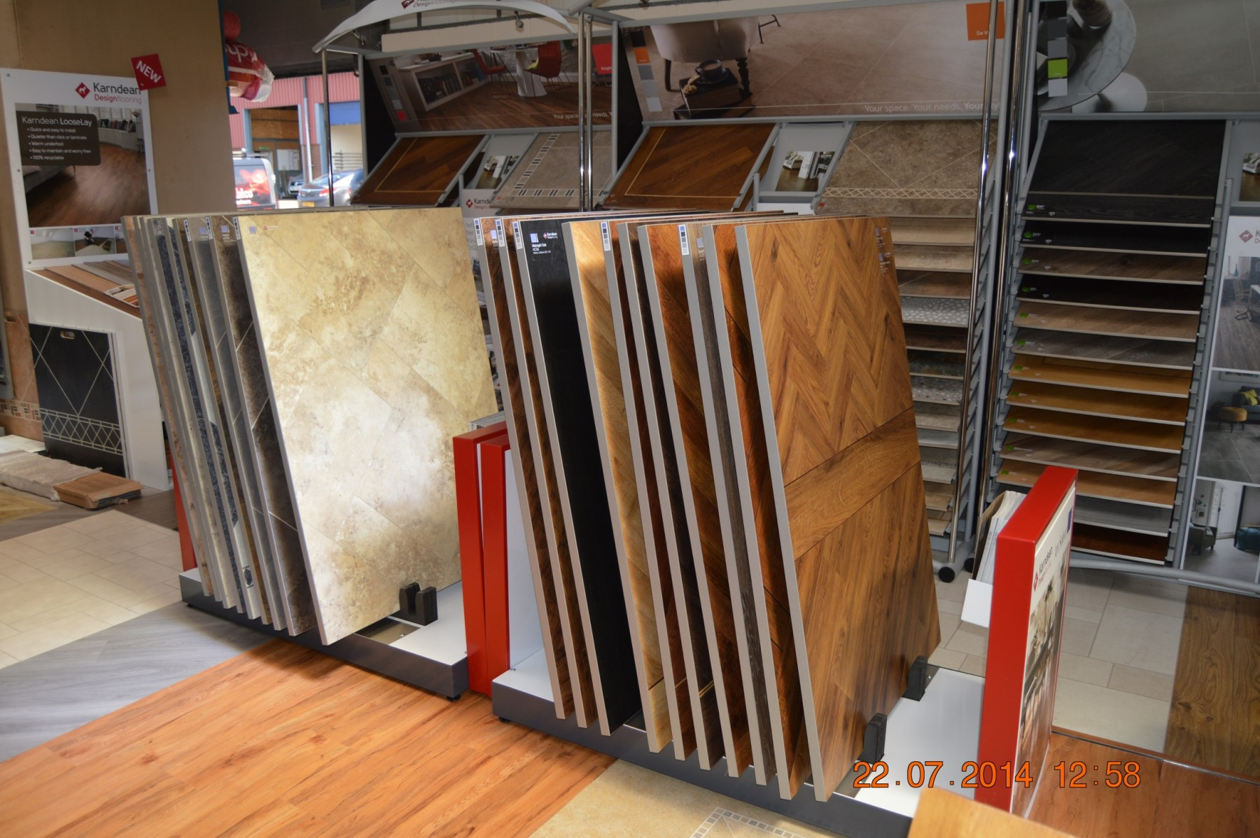 Different pattered flooring in a showroom