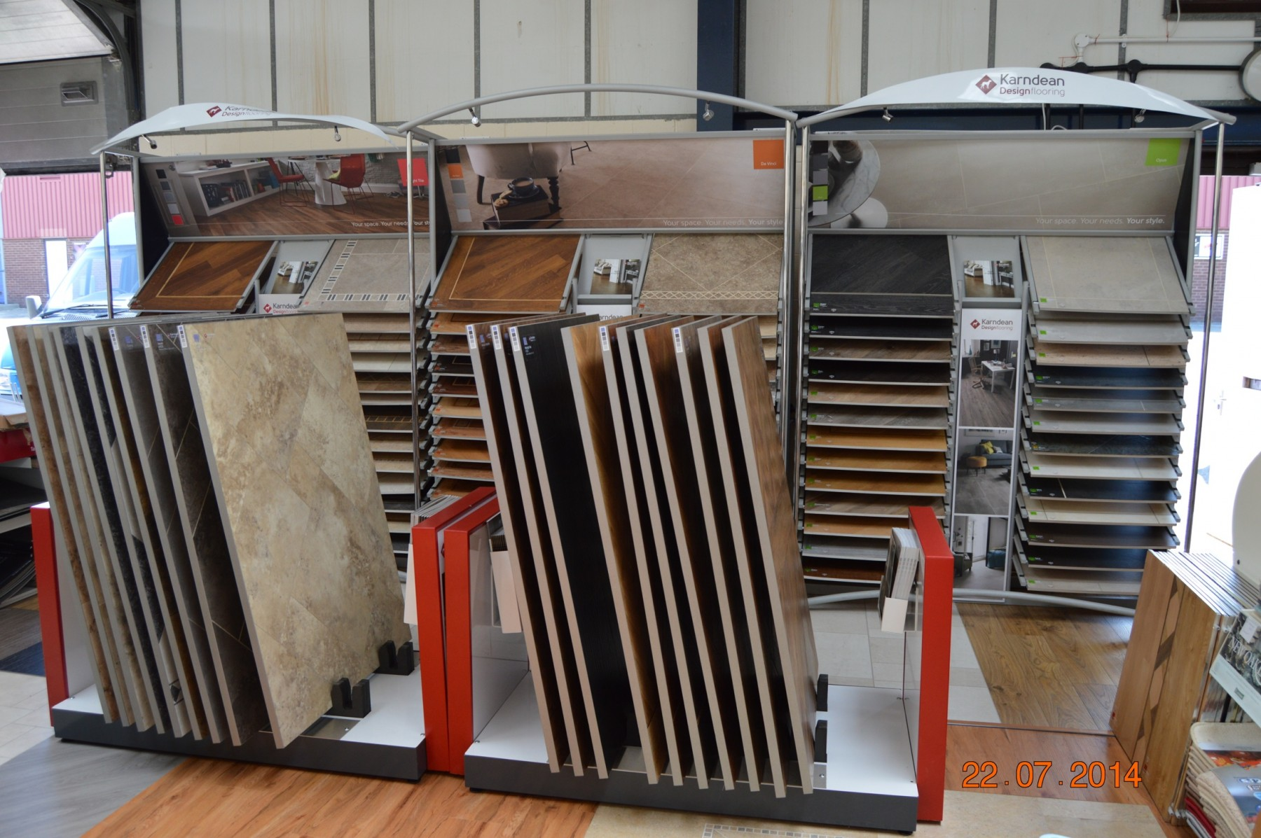 flooring showroom with multiple displays showing off different flooring