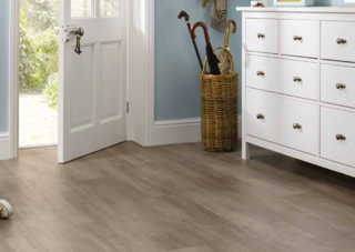 Blue entranceway room with a white door and cabinet with grey flooring and a wooden umbrella stand
